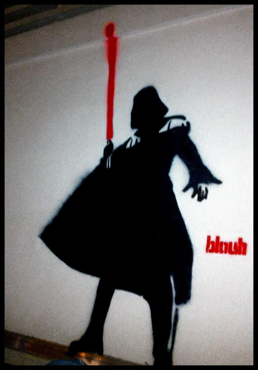 Darth Vader street art by TheArtofBlouh