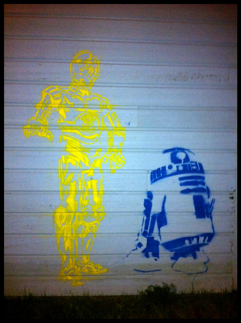 R2D2 and C3PO Street Art by TheArtofBlouh