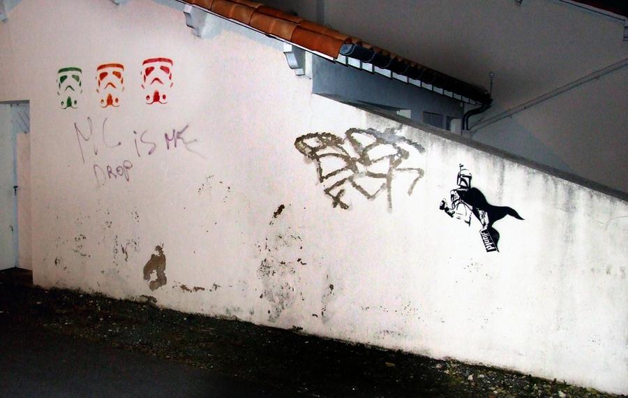 Boba Fett stencil the street by TheArtofBlouh