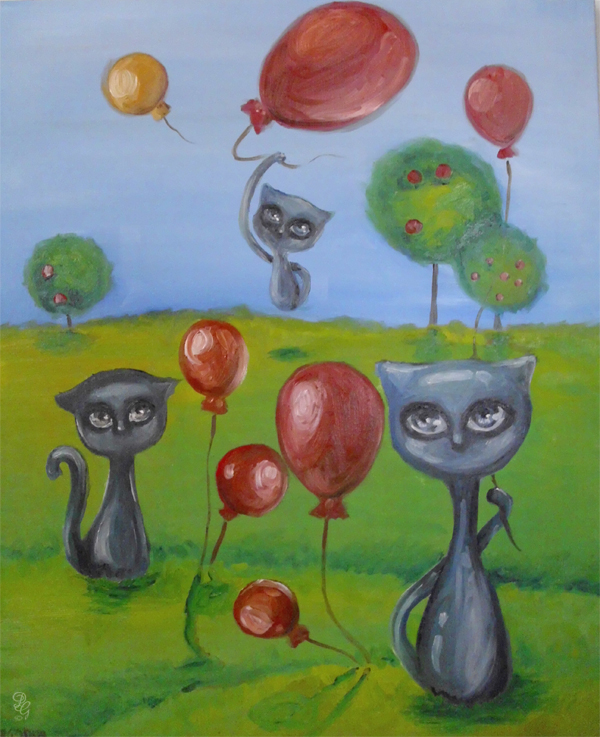 balloon blue cats by paulee1