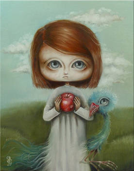 girl, apple and bird