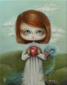 girl, apple and bird