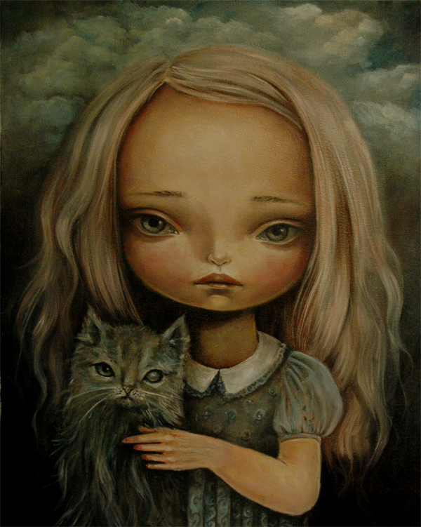 The girl with a cat