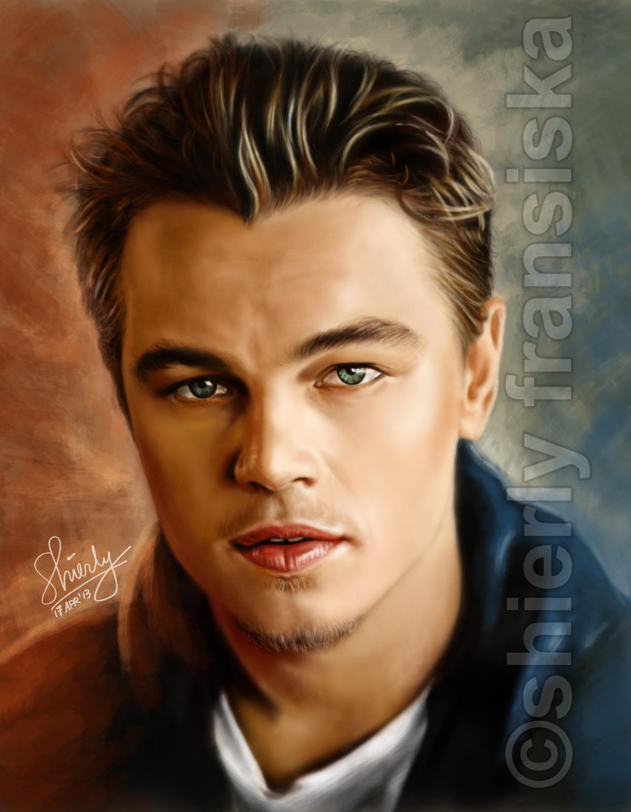 Leonardo dicaprio hand painted digital portrait by for Hand painted portraits from photos