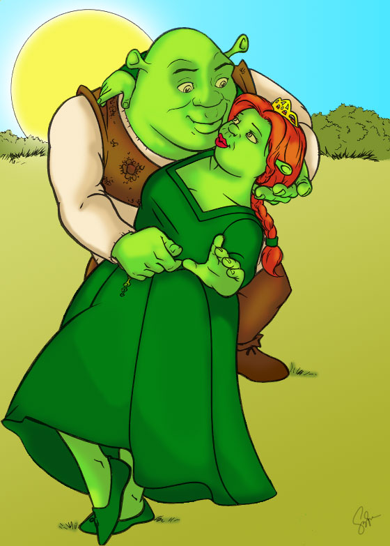 Shrek and Princess Fiona by zusque