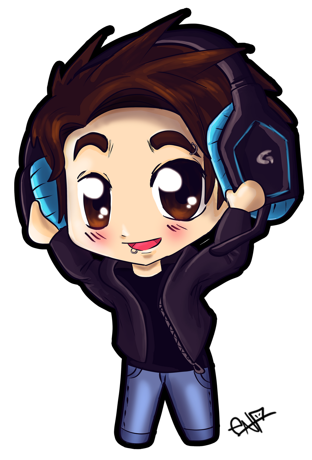 Chibi boy with headphones by Ena-the-original on DeviantArt