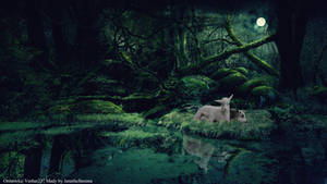 Goats lost in the dark forest and bright moon.