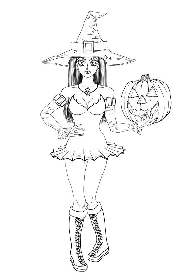 halloween girl outlineszaza0hidoi0bishojou on deviantart
