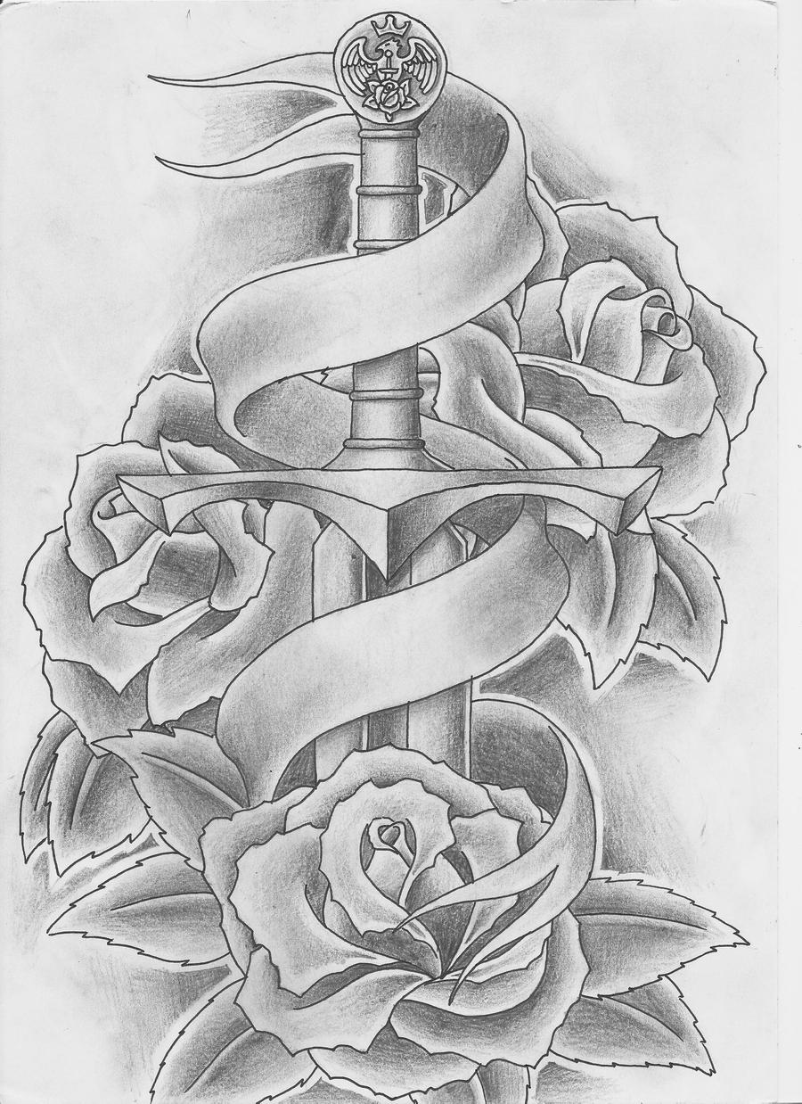 Samurai skull colouring pages page 2 - Old School Dagger Tattoo Designs