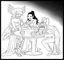 Lineart Commiss - Valkyries go Drinking