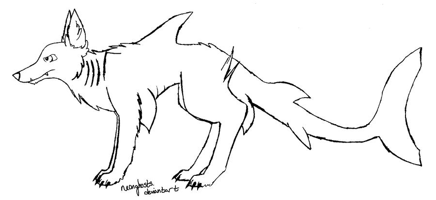 Line Art Dog : Shark dog lineart by neonghosts on deviantart