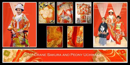 Crane Sakura + Peony Uchikake by Corselia