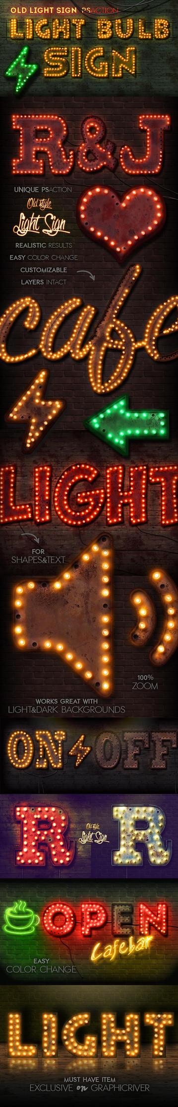 Old Light Sign Photoshop Action by Kluzya