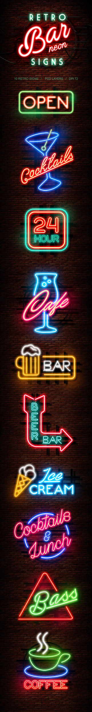 Retro Bar Neon Signs by Kluzya