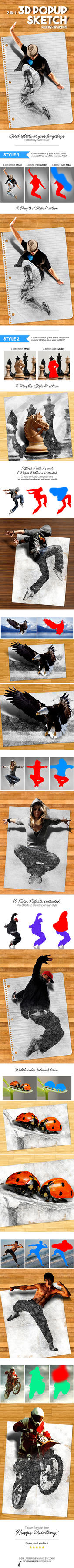 3D Popup Sketch Photoshop Action by Kluzya