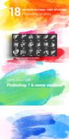 18 Watercolor Stains Paint Splatters Photoshop Bru