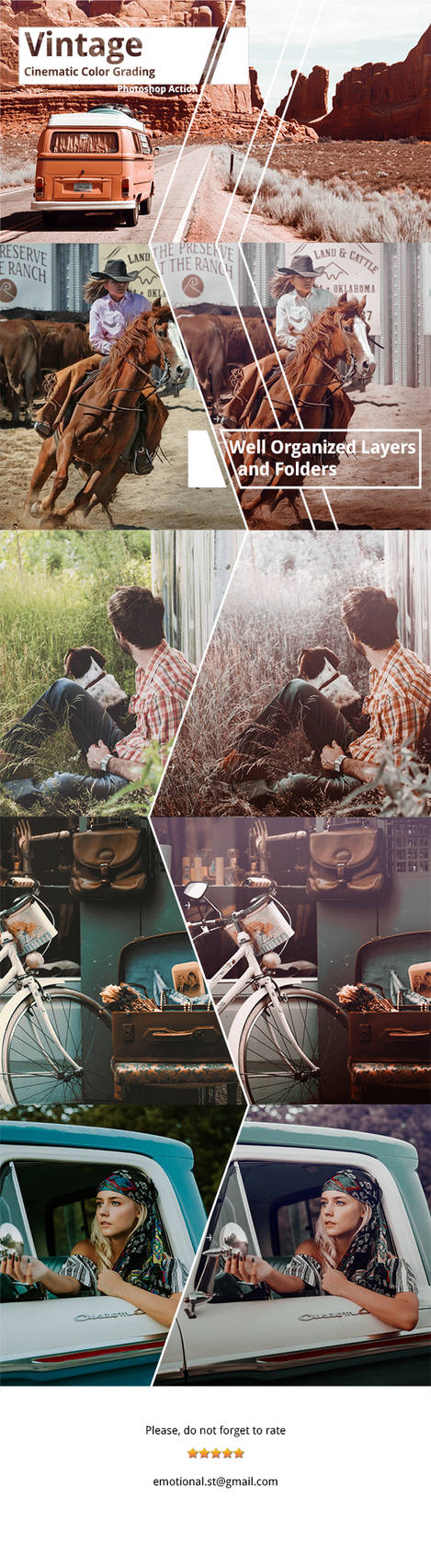 Neo Vintage Cinematic Color Grading Photoshop Acti by Kluzya on