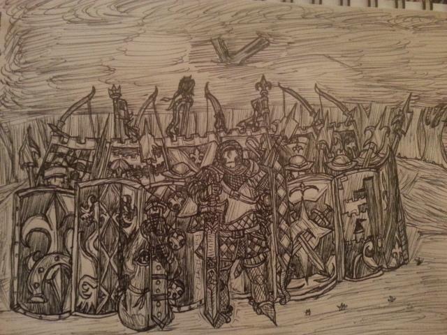 Shield wall of Bretonnia. by Baron-Klatz