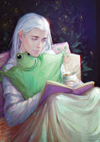 Boy is reading a book by LoranDeSore