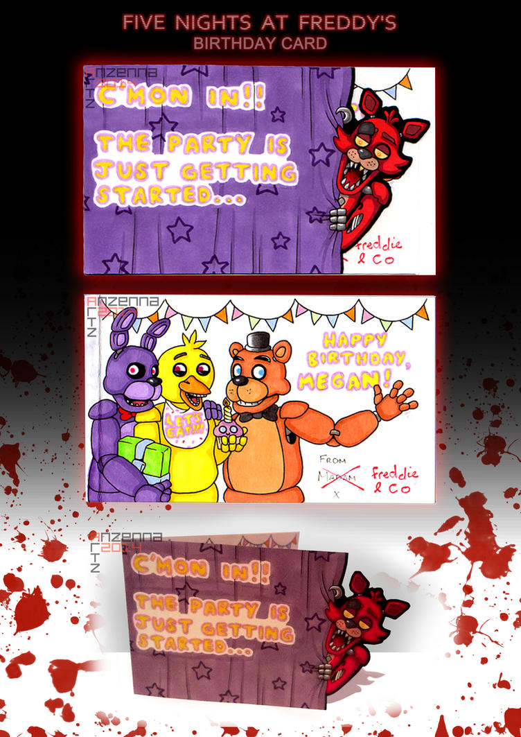 Five nights at freddy s birthday card by anzennaartz on deviantart