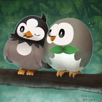 Starly and Rowlet by eric-may