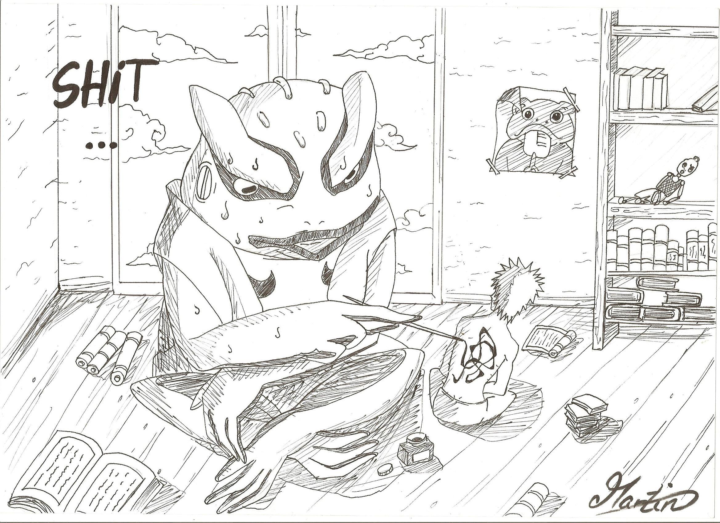 Naruto and Gama Kitchi by kiradu81