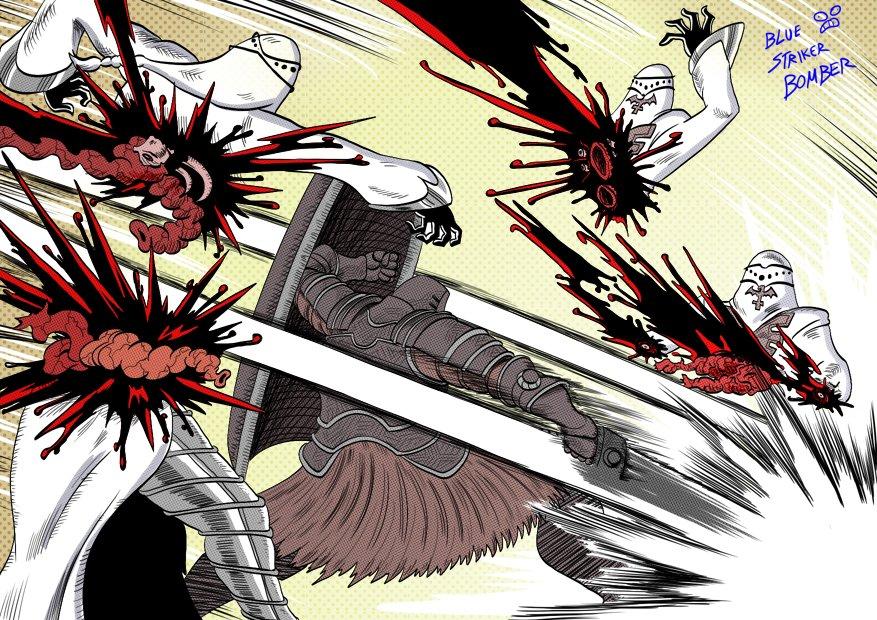 Tarkus vs Painting Guardians (Dark Souls) by BlueStrikerBomber