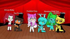 Toy Fraby, Funtoy Fonnie, and Golden FNAF Fan