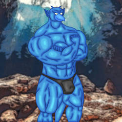 Reijogoyle: Wingless Blue Gargoyle by kusanagiartist