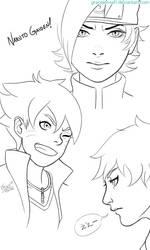 Naruto Gaiden Sketches by GraceJensen