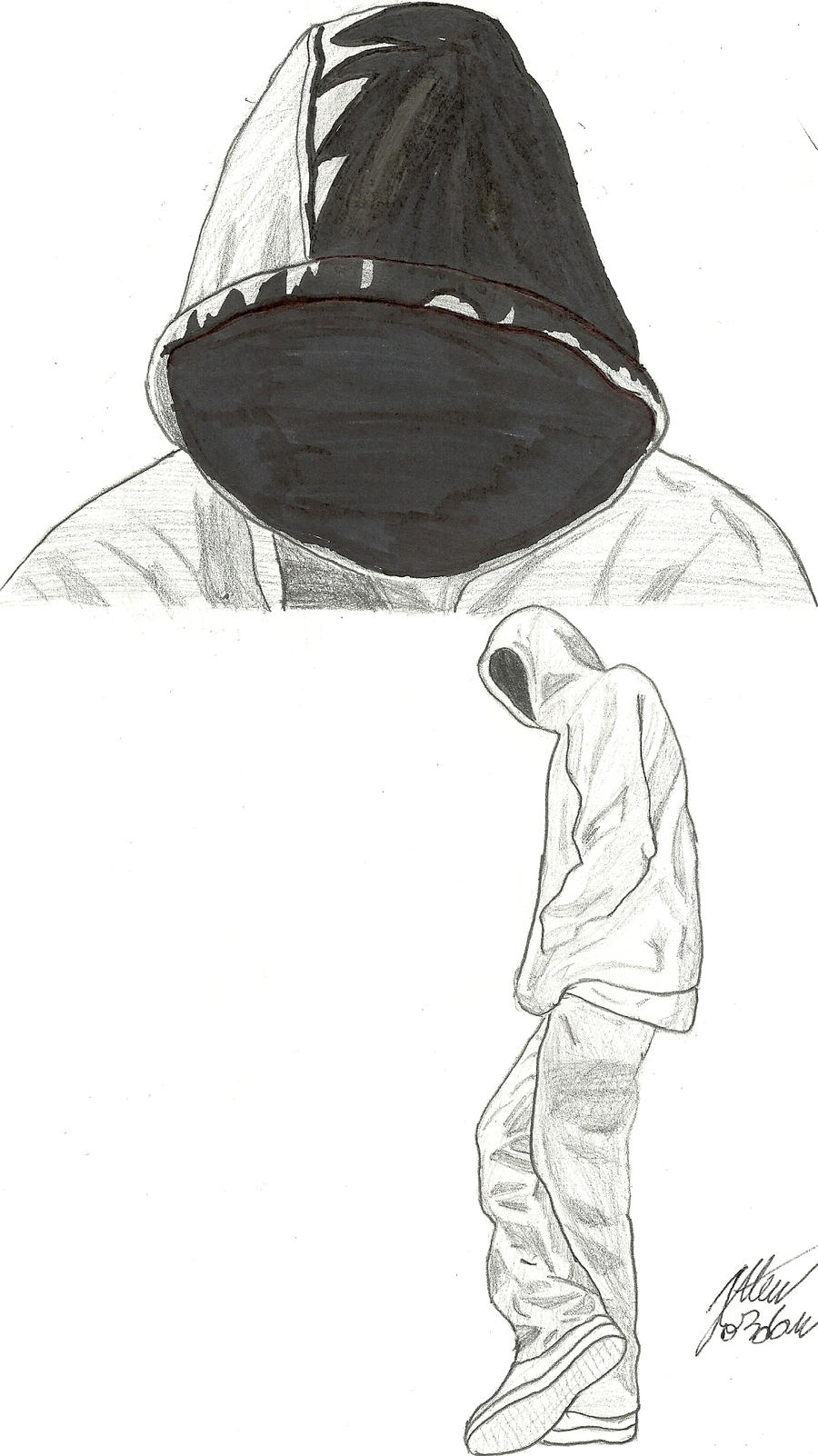 This is a photo of Shocking Guy In Hoodie Drawing