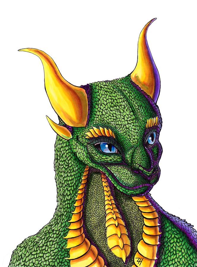 Green Dragon Bust by ZoeHildebrand-R