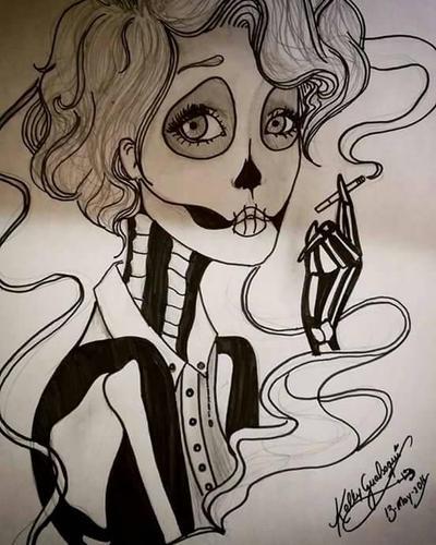 skull girl  by kellygualsaqui
