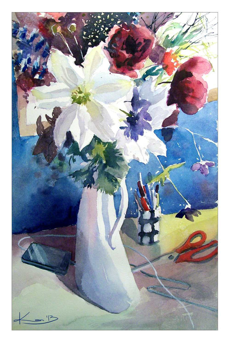 Clematis In The Vase by katekos-art