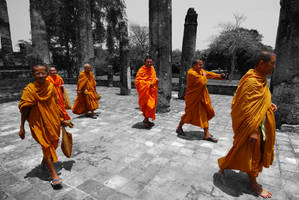 Thailand - Sukhothai Monks by slecocqphotography