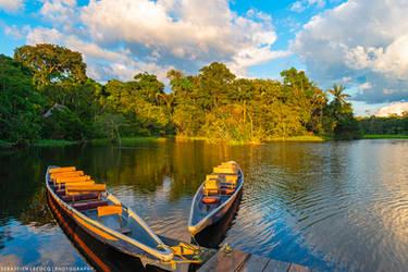 Ecuador   Canoes at Sunset