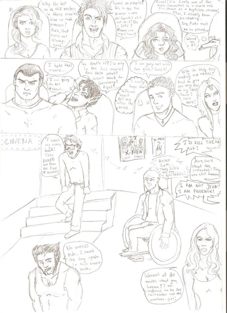 Watching the X-men 3 movie by romyextrafan