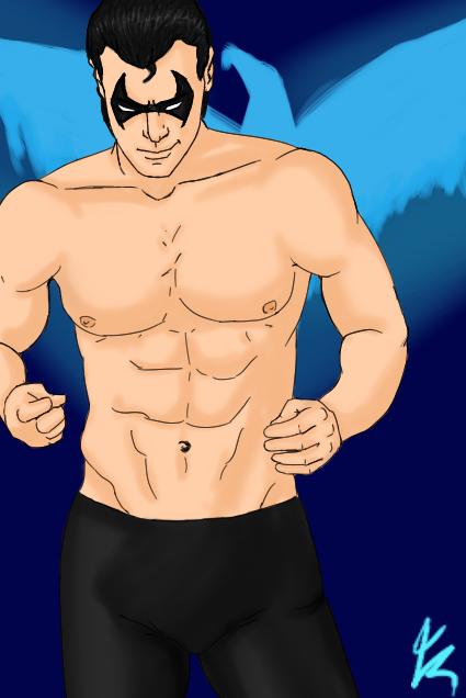 Shirtless Nightwing by romyextrafan