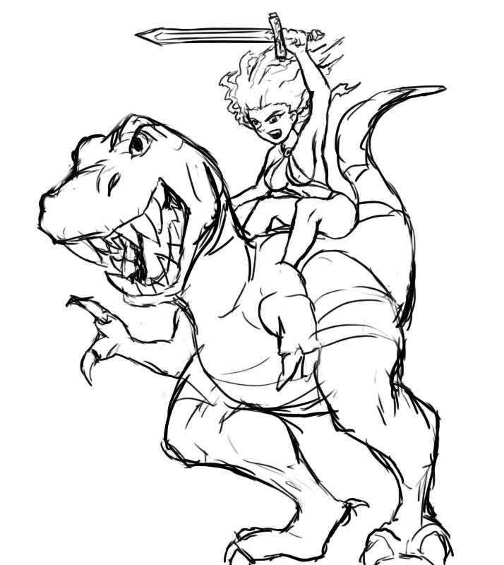Dinosaur with barbarian girl by shiroboi