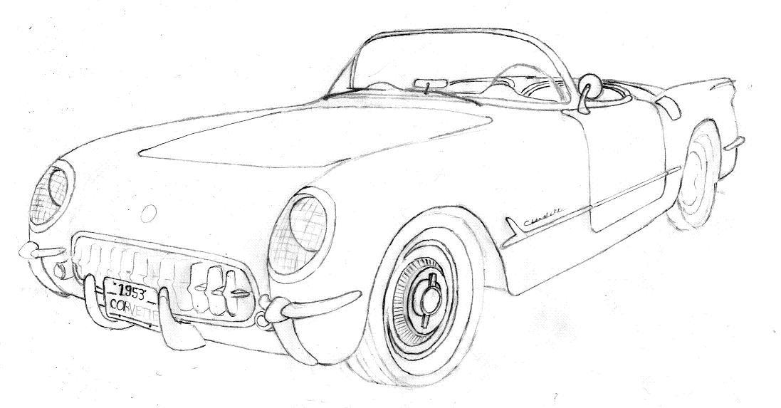 93  vintage corvette drawing