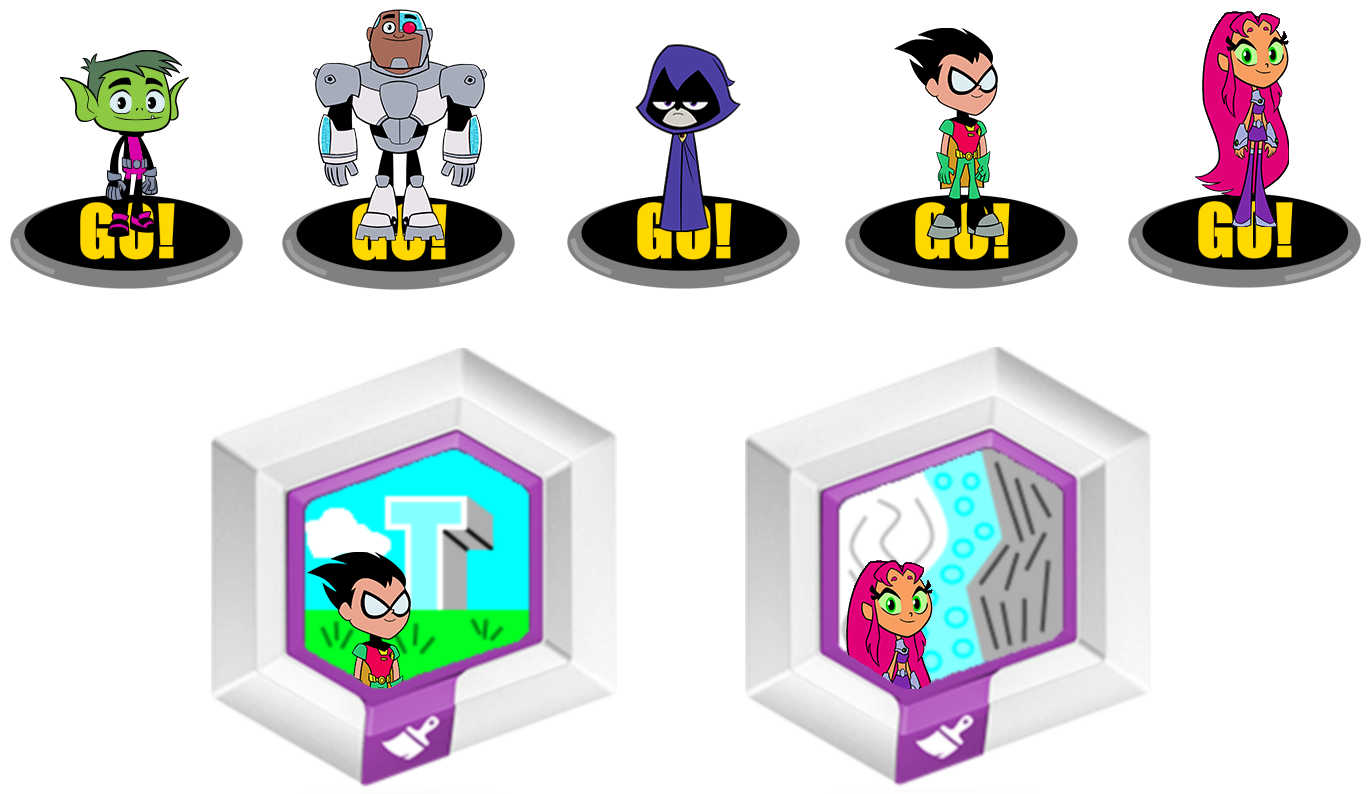Teen Titan Character Toys : Figures and power disc teen titans go by