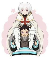 Shinra and Sho Kusakabe by emayuku