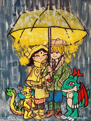 Wendy and Kevin Downpour by emayuku
