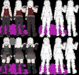 Yamiko character sheets by MulberryArt
