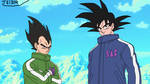 Goku and Vegeta of DBS Broly with their old design by teitor