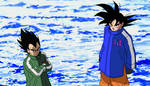 Goku and Vegeta in their old design remake by teitor