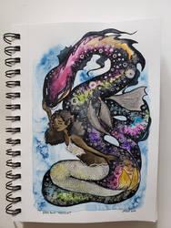 MerMay #1: Rainbow Serpent and Mermaid