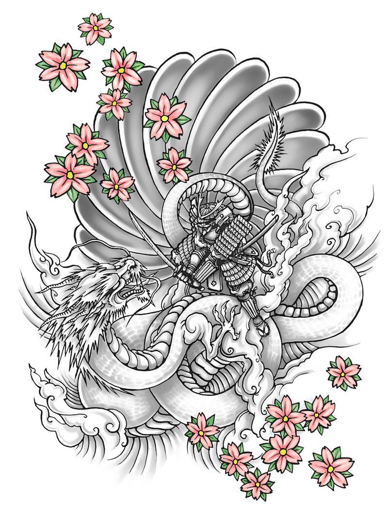 Samurai Vs Dragon by NeekouDragon Samurai