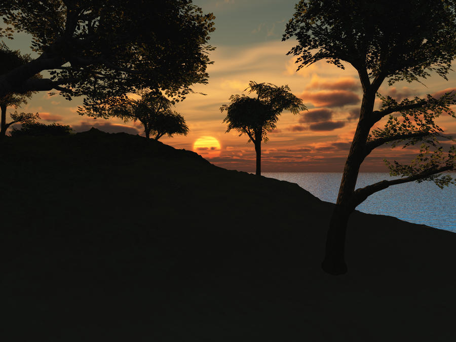 Island Sunset - High Res by wiyaneth