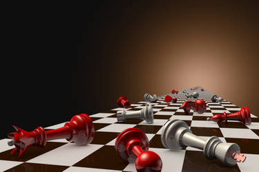 Stopped time. Chess composition. 3D illustration